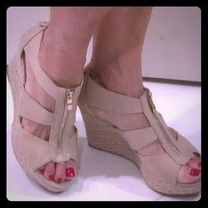 Tan canvas zip front wedge shoe